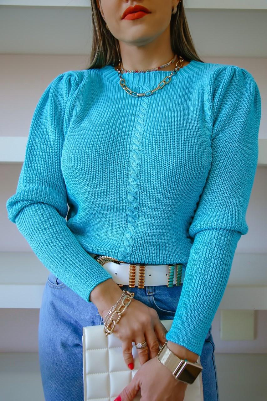 Blusa Tricô Brenda Patena Tricot Fang Trancinha Mi Azul