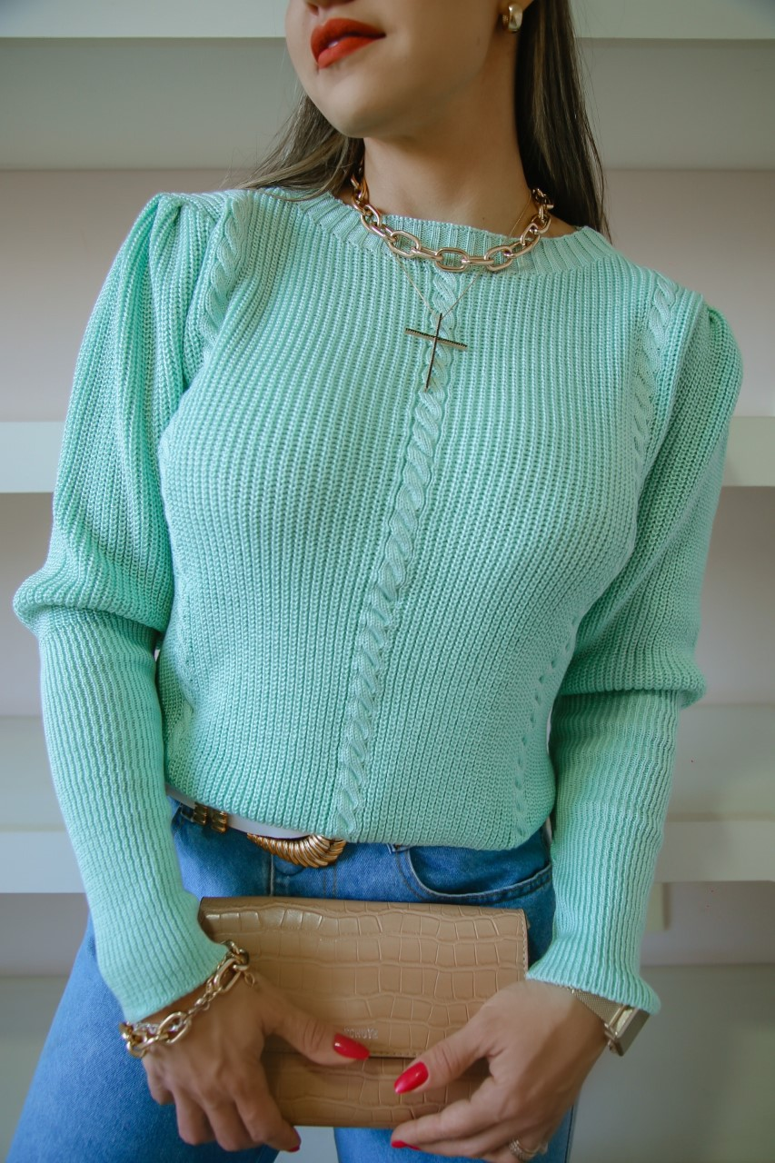 Blusa Tricô Brenda Patena Tricot Fang Trancinha Mi Verde