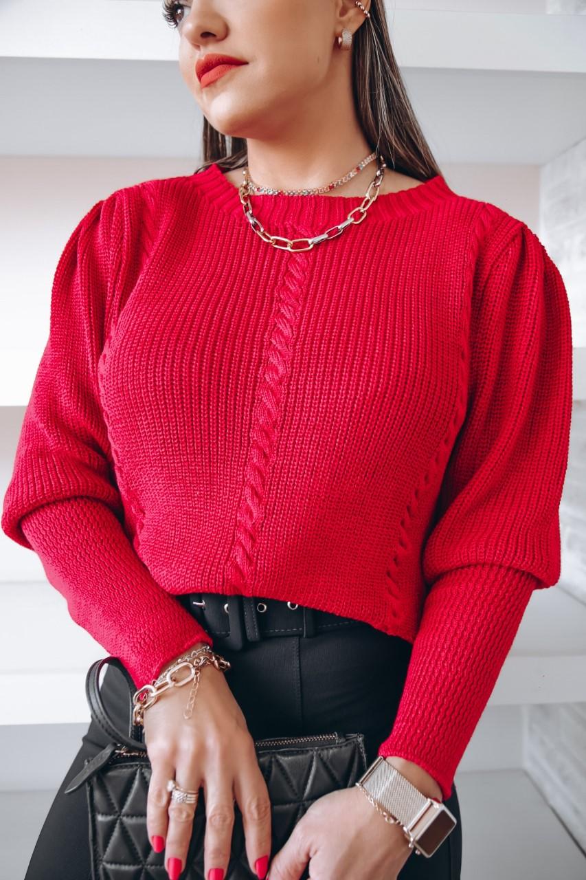 Blusa Tricô Brenda Patena Tricot Fang Trancinha Mi Vermelho Queimado