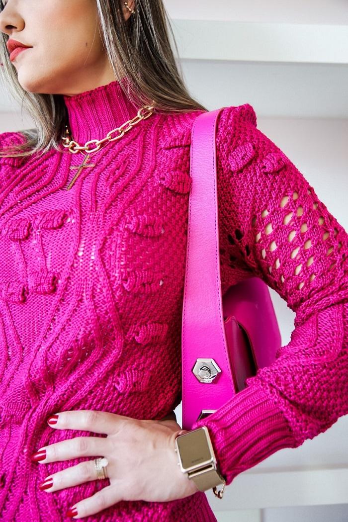 Blusa Tricô Julia Patena Tricot Fuxico JL Pink