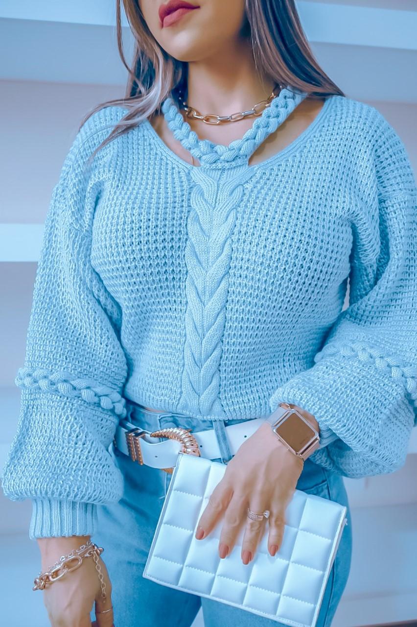Blusa Tricô Licia Patena Tricot Trança Choker Mi Azul