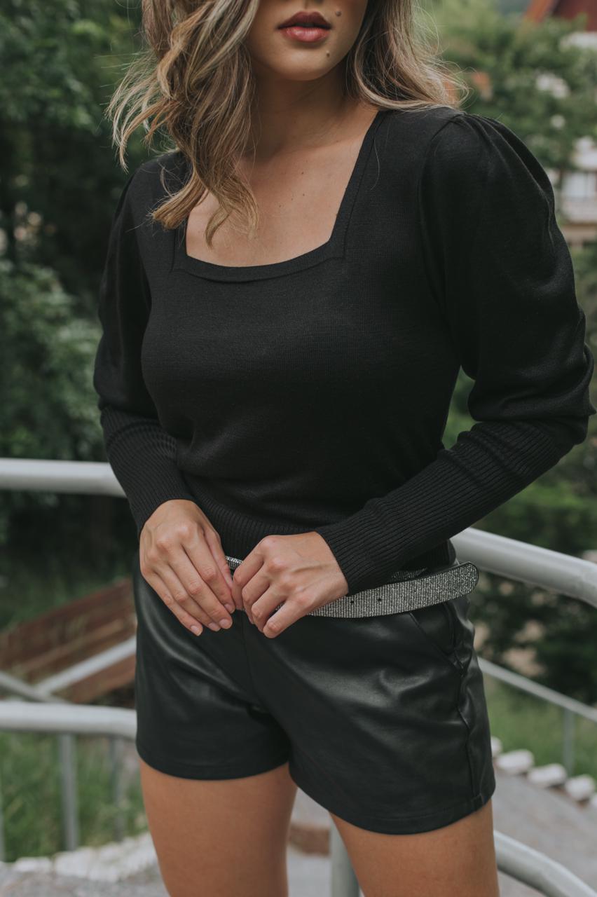 Blusa Tricô Patena Tricot Decote Quadrado Fina Rt Preta