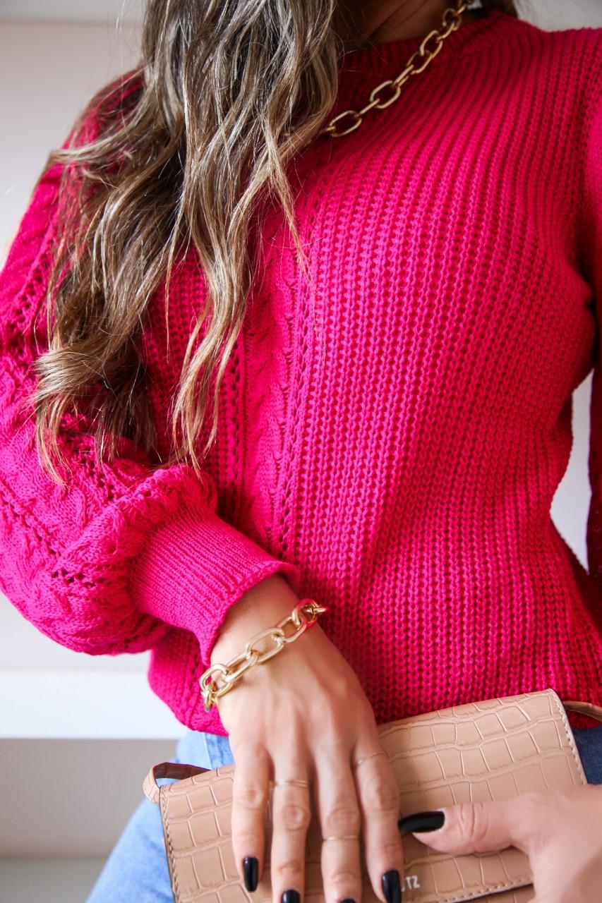Blusa Tricô Patena Tricot Ivy Trancinha Manga Rendada Dn Pink Rosa Pitaya