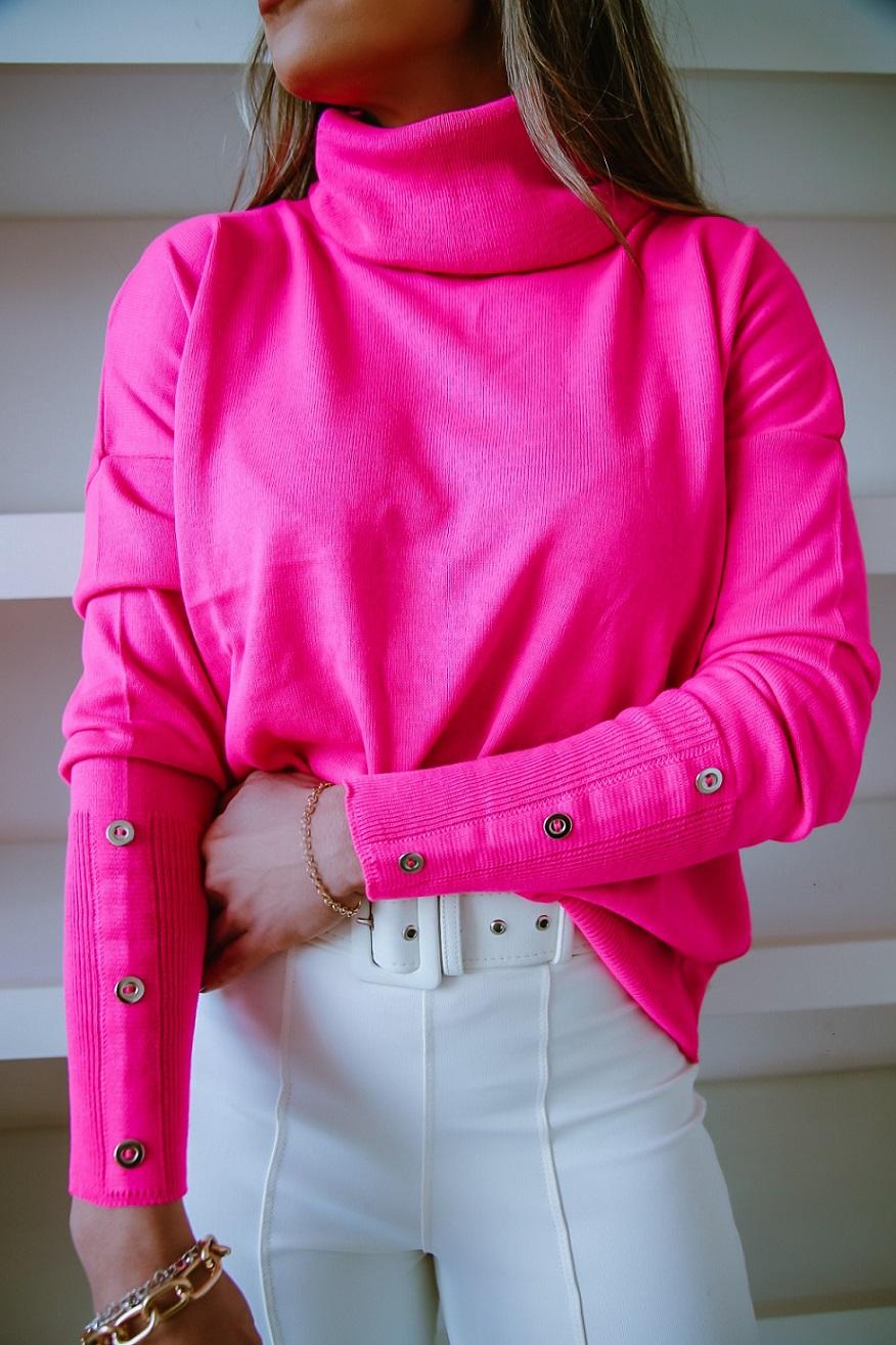 Blusa Tricô Patena Tricot Leoni Rolê Botões Mi Pink