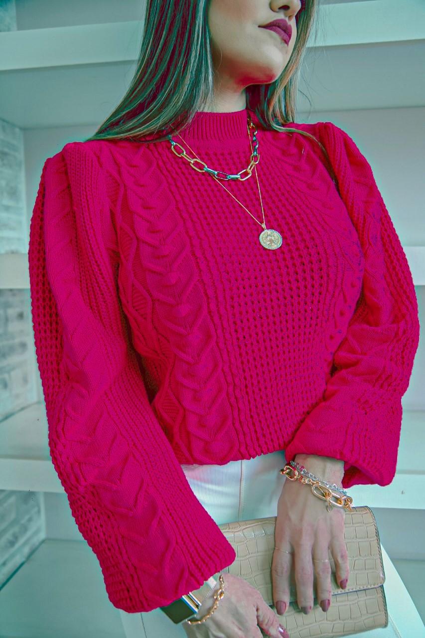 Blusa Tricô Patena Tricot Mila Manga Bufante e Drapeada Lã Mi Rosa Pink
