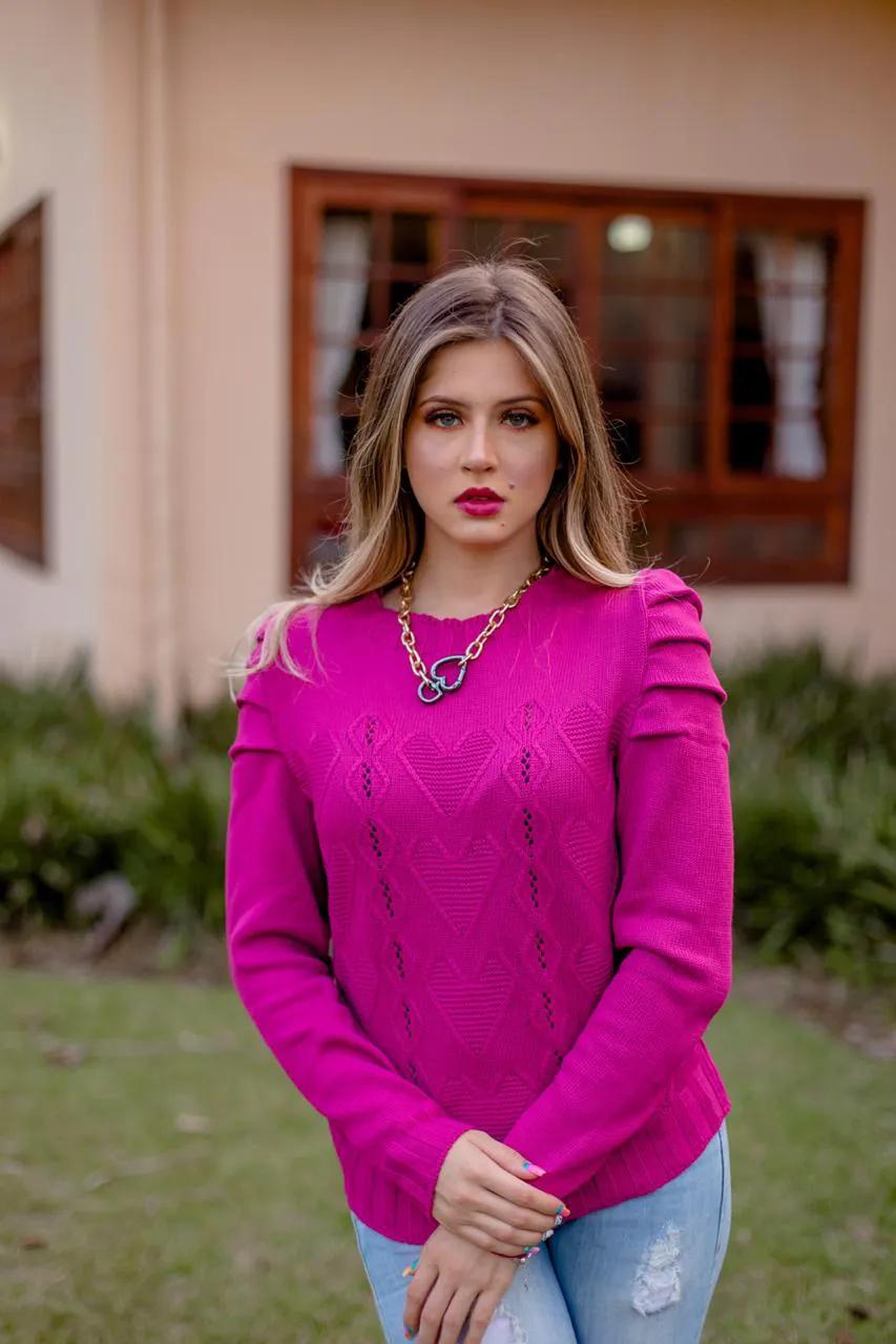 Blusa Tricô Patena Tricot Princesa Coração LA Pink