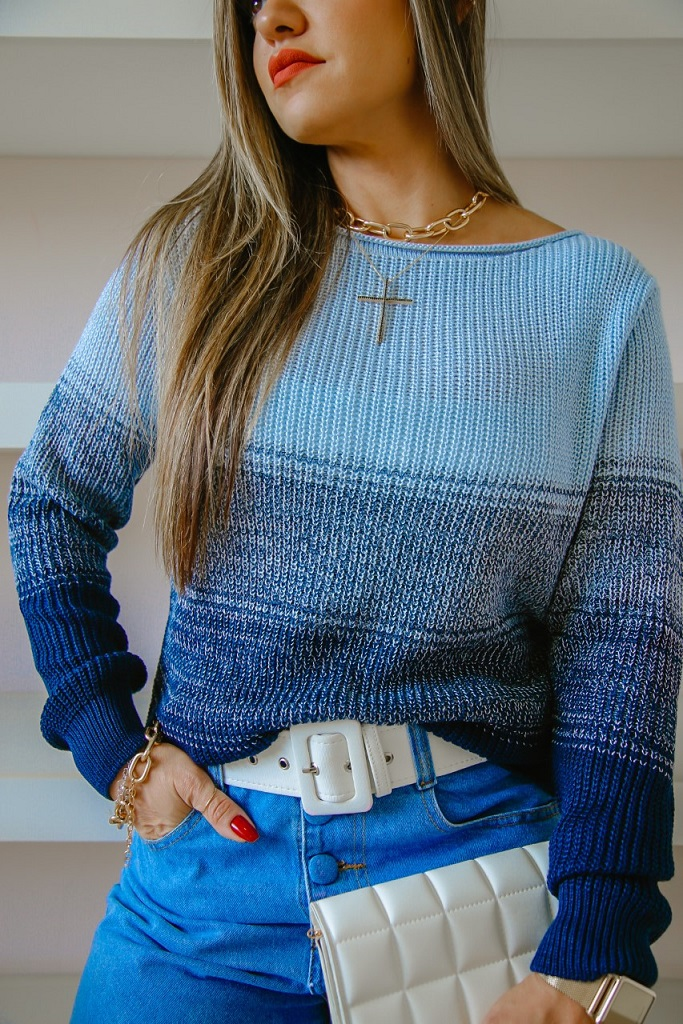 Blusa Verônica Patena Tricot Fang Degradê Rt Azul