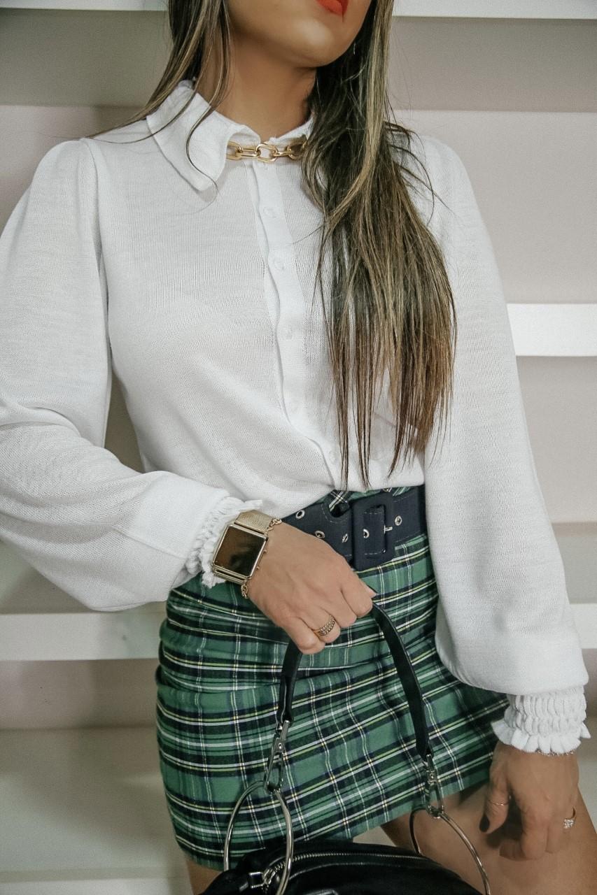 Camisa Julieta Patena Tricot Bufante Punho Drapeado Mi Branca