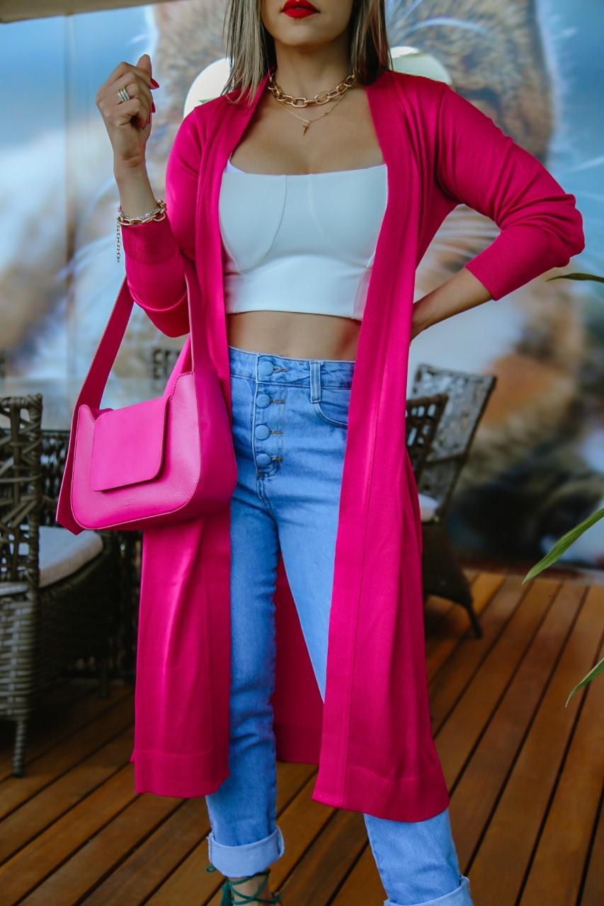 Cardigan Carol Patena Tricot Rt Pink