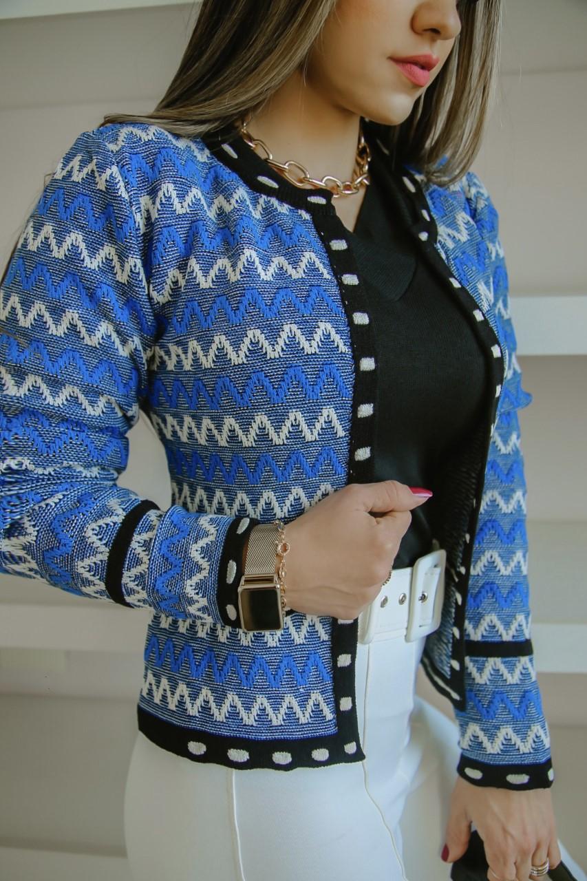 Casaco Talita Patena Tricot Modal Al Azul