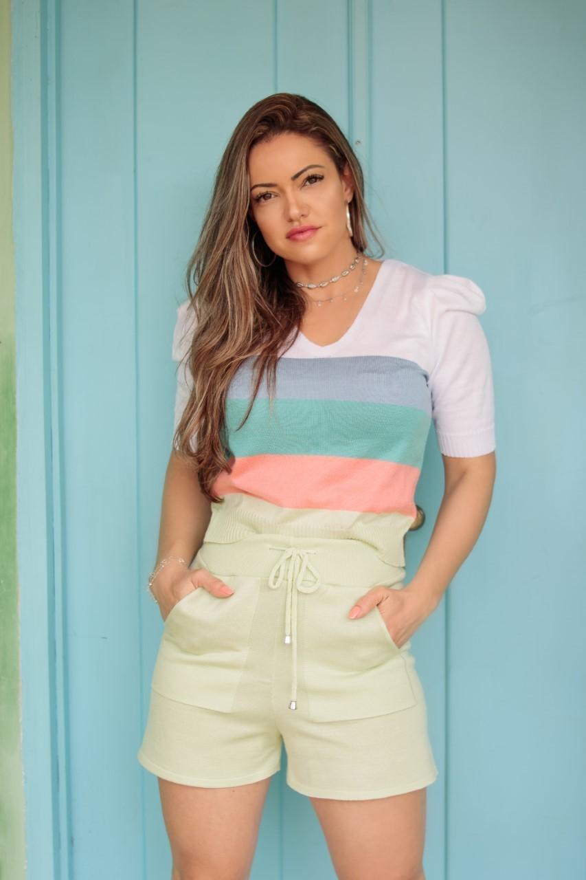 Conjunto Tricô Patena Tricot Shorts Colors Mi Verde