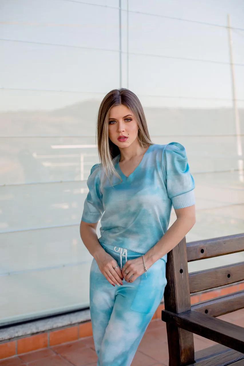 Conjunto Tricô Patena Tricot Tie Dye 2 Cores Mi Azul