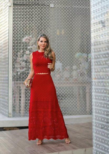 Conjunto Tricô Patena Tricot Top Luce Decote Alto Vermelho