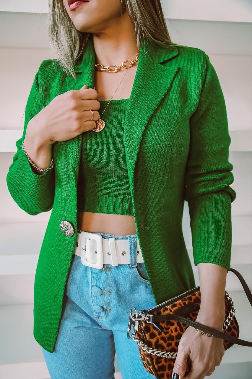 Conjunto Tricô Tulia Patena Tricot Blazer Liso Am Verde