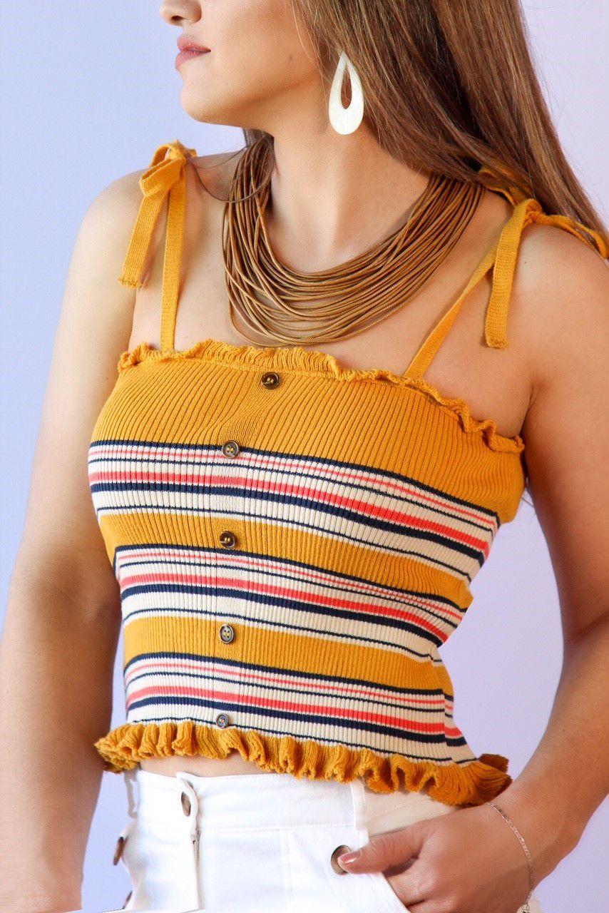 Cropped Listrado Botao Babadinho Amarelo