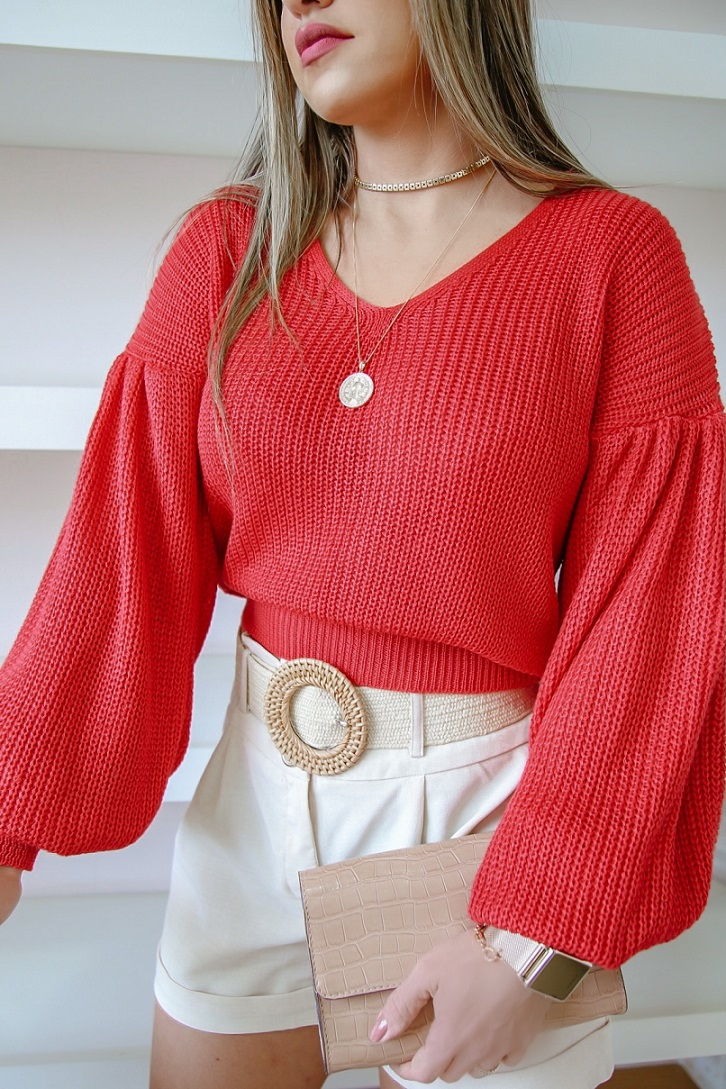 Cropped Tricô Cíntia Patena Tricot V Fang Bufante Rt Rouge