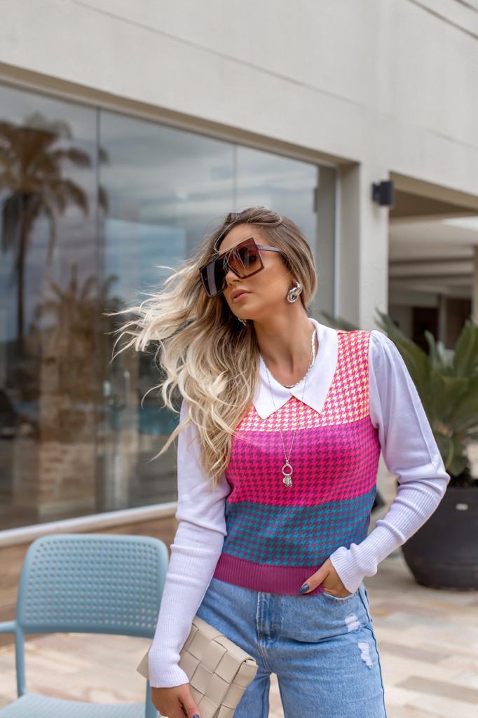 Duo Blusa/ Camisa Tricô Patena Tricot Pied Poule Rt Pink