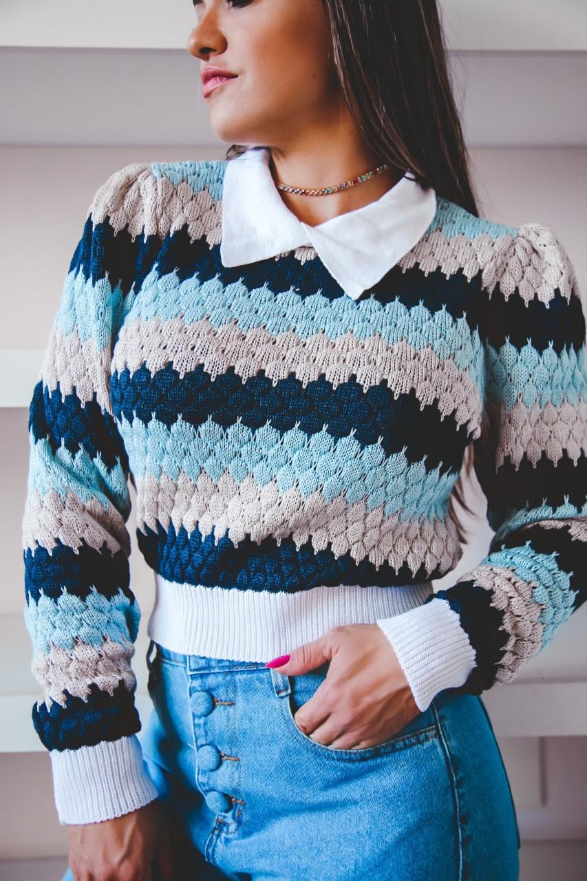 Duo Sweater Tricô Patena Tricot Casulo Rt Azul