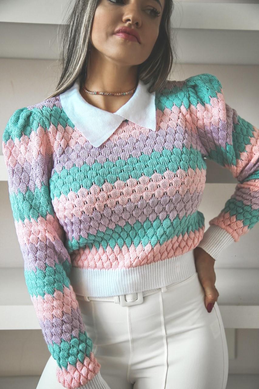 Duo Sweater Tricô Patena Tricot Casulo Rt Candy