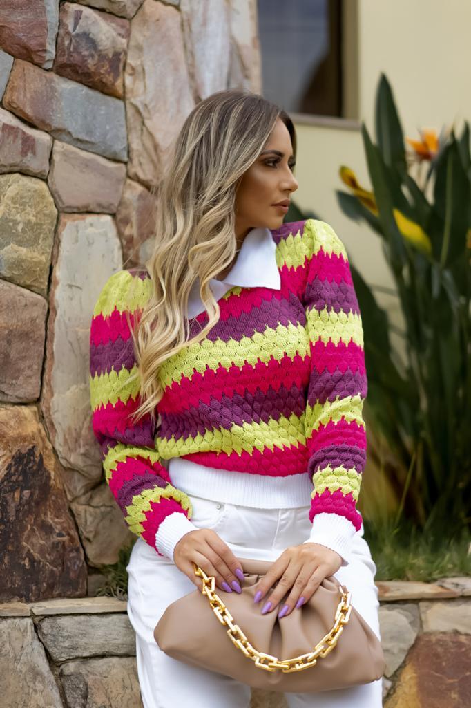 Duo Sweater Tricô Patena Tricot Casulo Rt Neon