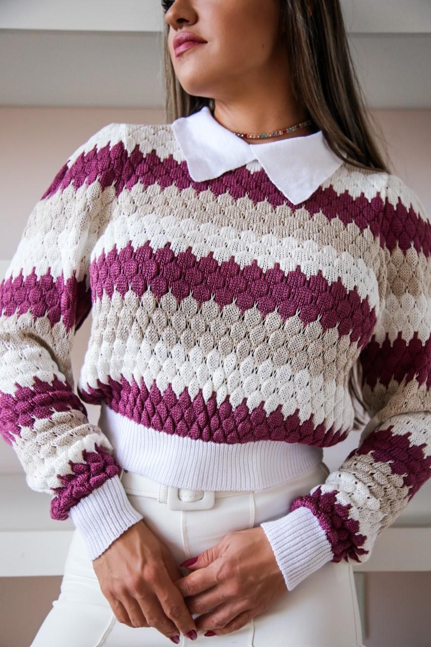 Duo Sweater Tricô Patena Tricot Casulo Rt Roxo