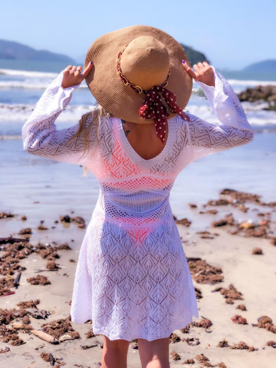 Saída de Praia Tricô Patena Tricot Bata Flare Rayon Branca