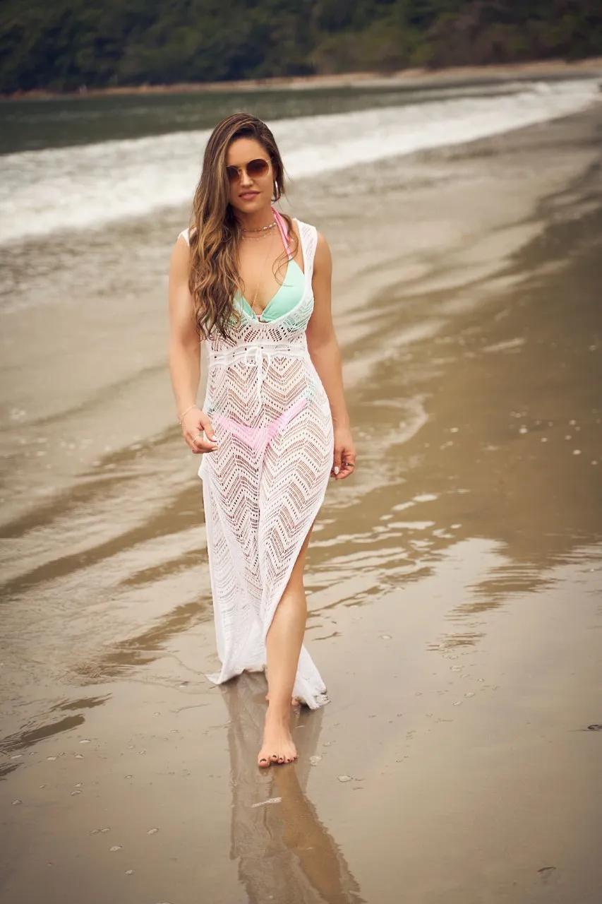 Saída de Praia Tricô Patena Tricot Búzios Ak Branca