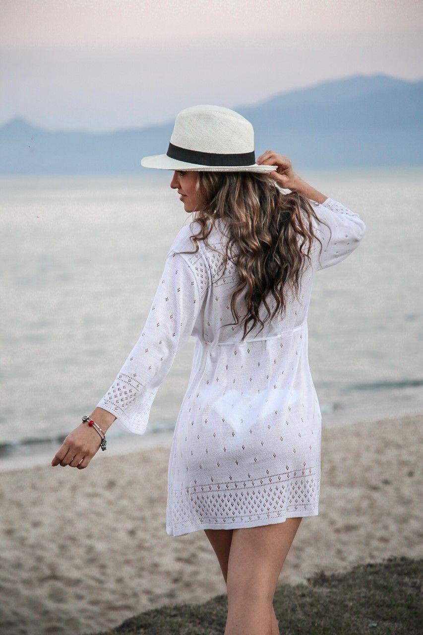 Saída de Praia Tricô Patena Tricot Flare 3/4 Branca