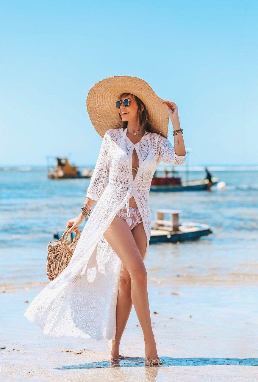 Saída de Praia Tricô Patena Tricot Longa Fenda Rayon Branca