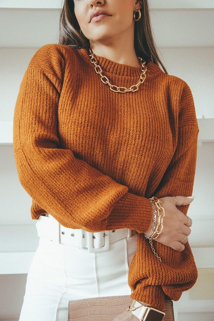 Sweater Tricô Patena Tricot Selena Mouse Bufante Jp Ferrugem