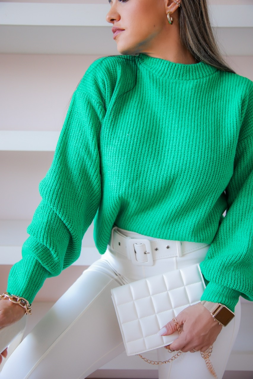 Sweater Tricô Patena Tricot Selena Mouse Bufante Jp Jade
