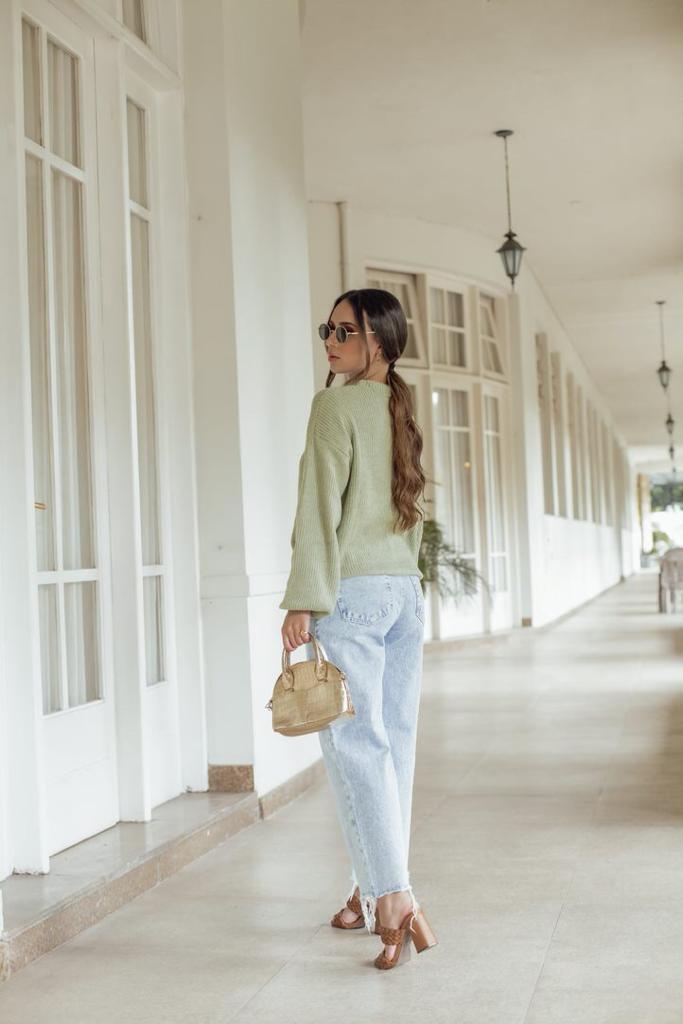 Sweater Tricô Patena Tricot Selena Mouse Bufante Jp Verde