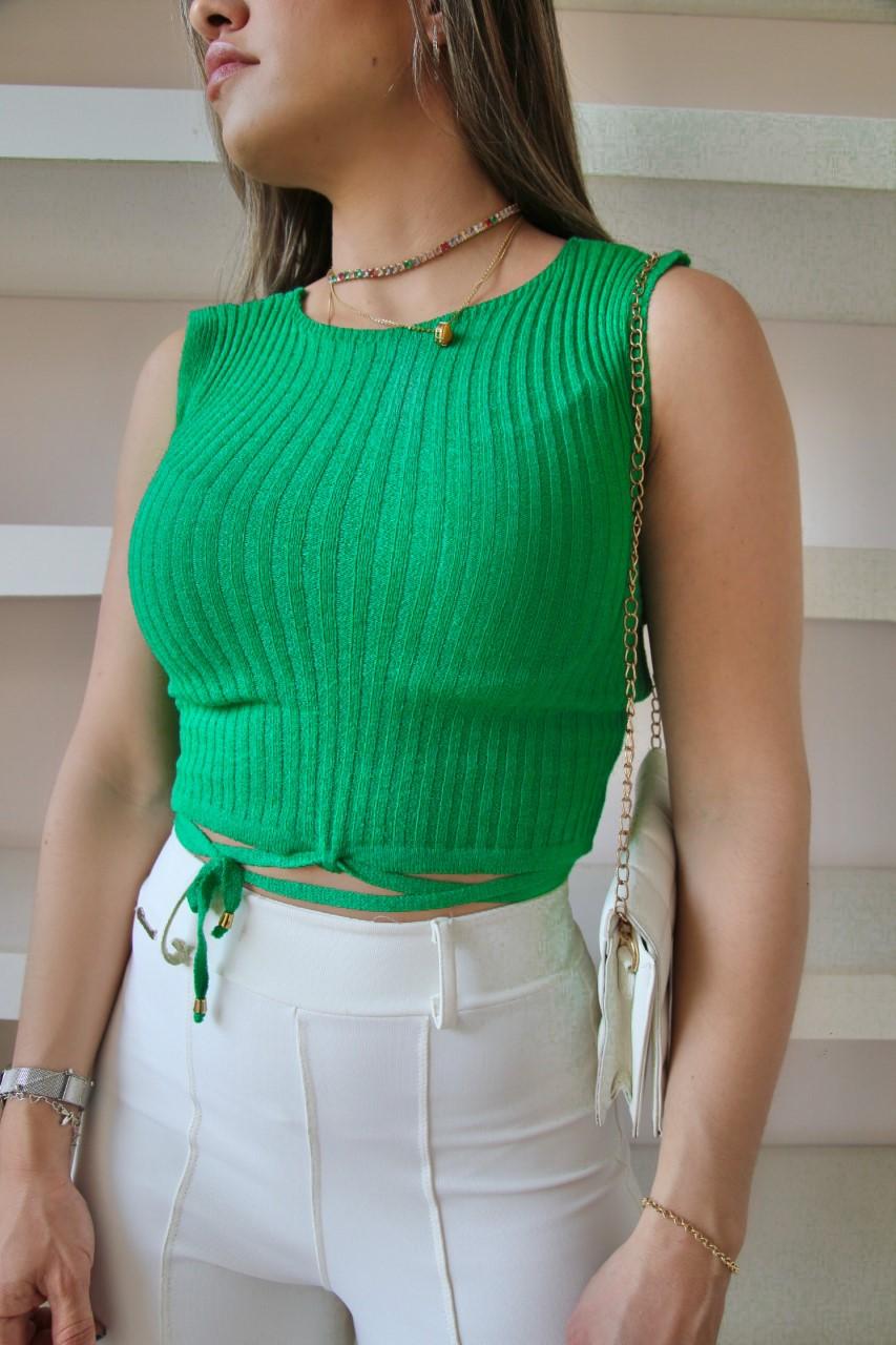 Top Beatriz Patena Tricot Amarração Modal Bi Verde