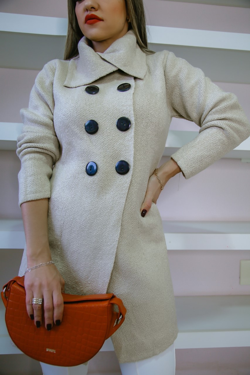 Trench Coat Antonia Patena Tricot Mousse Rf Bege