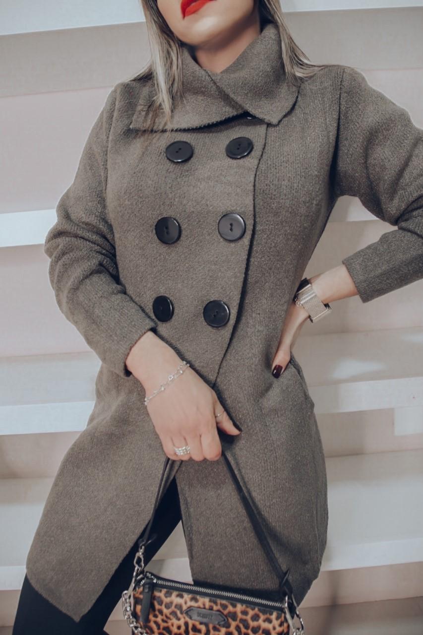 Trench Coat Antonia Patena Tricot Mousse Rf Caqui