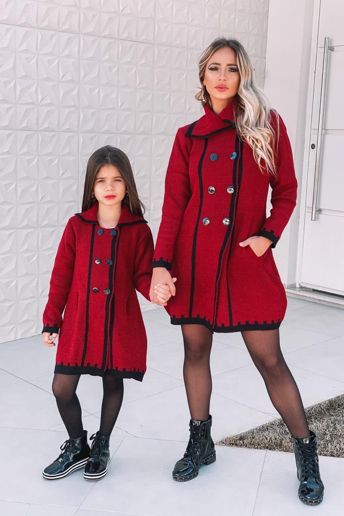 Trench Coat Mãe e Filha Tricô Patena Tricot Mousse Vermelho Dn