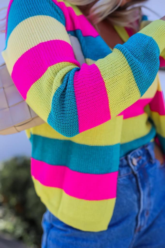 Twin Set Rainbow Patena Tricot Rt Pink