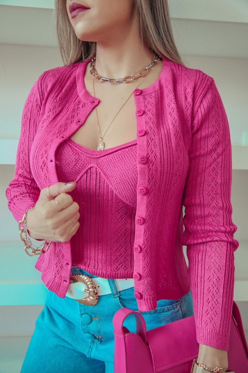 Twin Set Tricô Rebeca Patena Tricot Modal Meia Taça Mi Pink