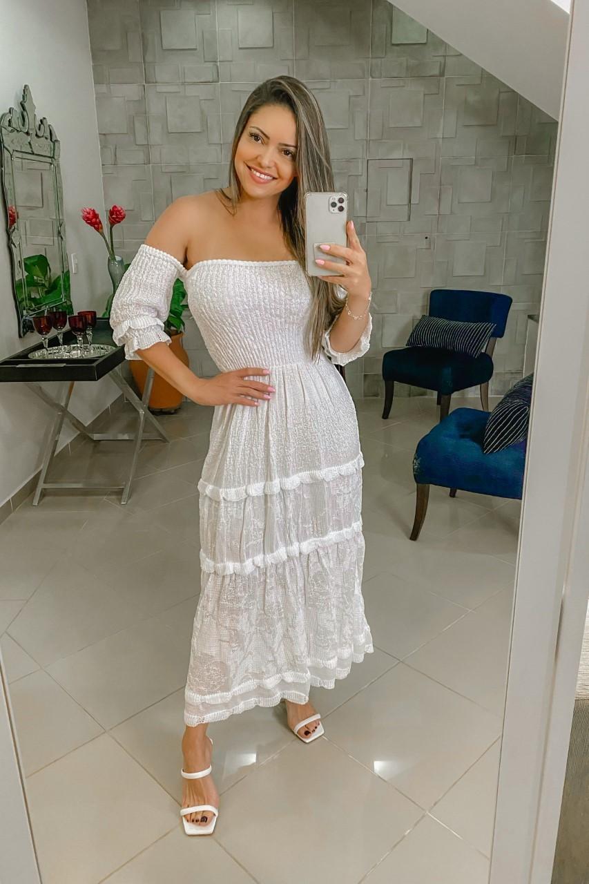 Vestido Tricô Patena Tricot Cigana Lastex Gipsy Branco