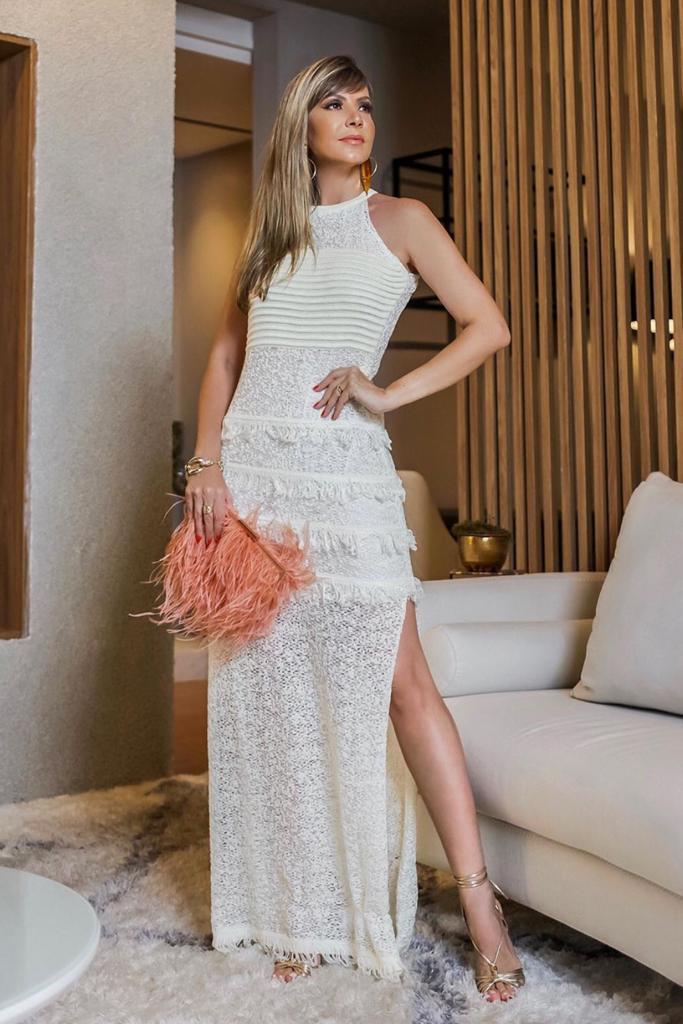 Vestido Tricô Patena Tricot Naturale Off