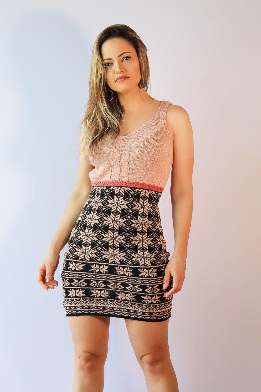 Vestido Tricot Faixa Cintura Rosa