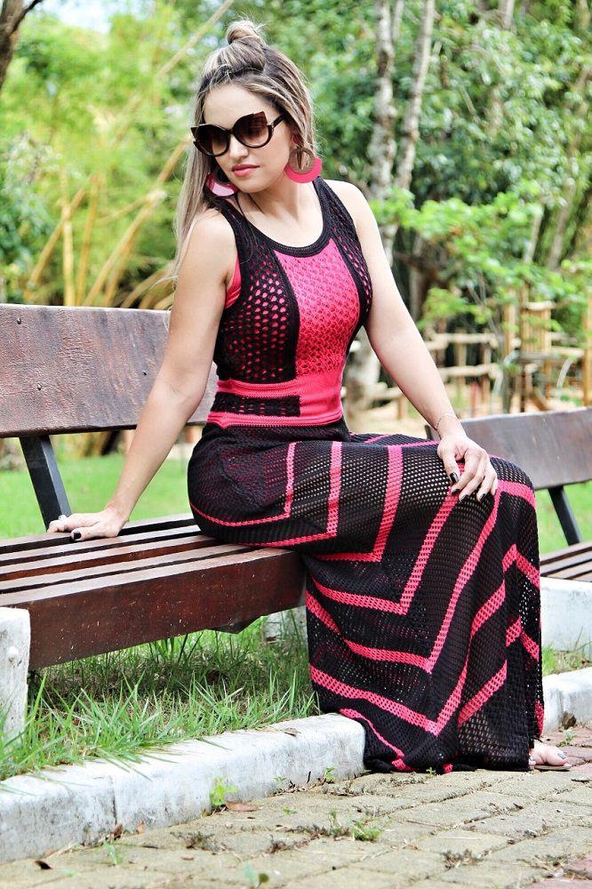 Vestido Tricot Longo Panama Preto Pink