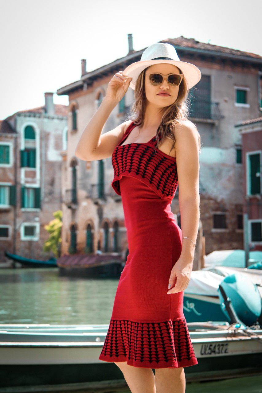 Vestido Tricot Midi Babado Tulipa Modal Vermelho