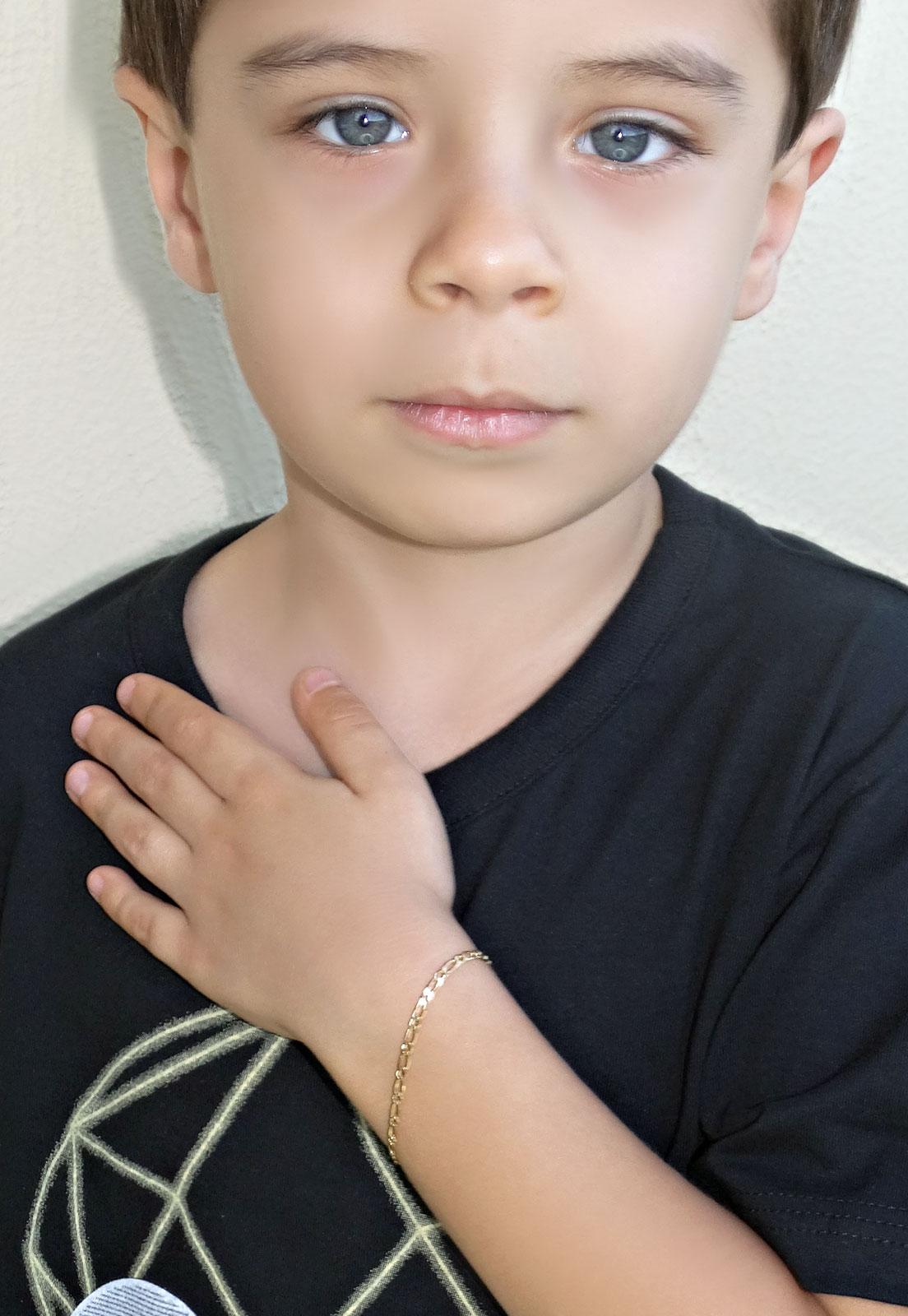 PULSEIRA ELOS GRUMET INFANTIL MENINO BANHADA A OURO