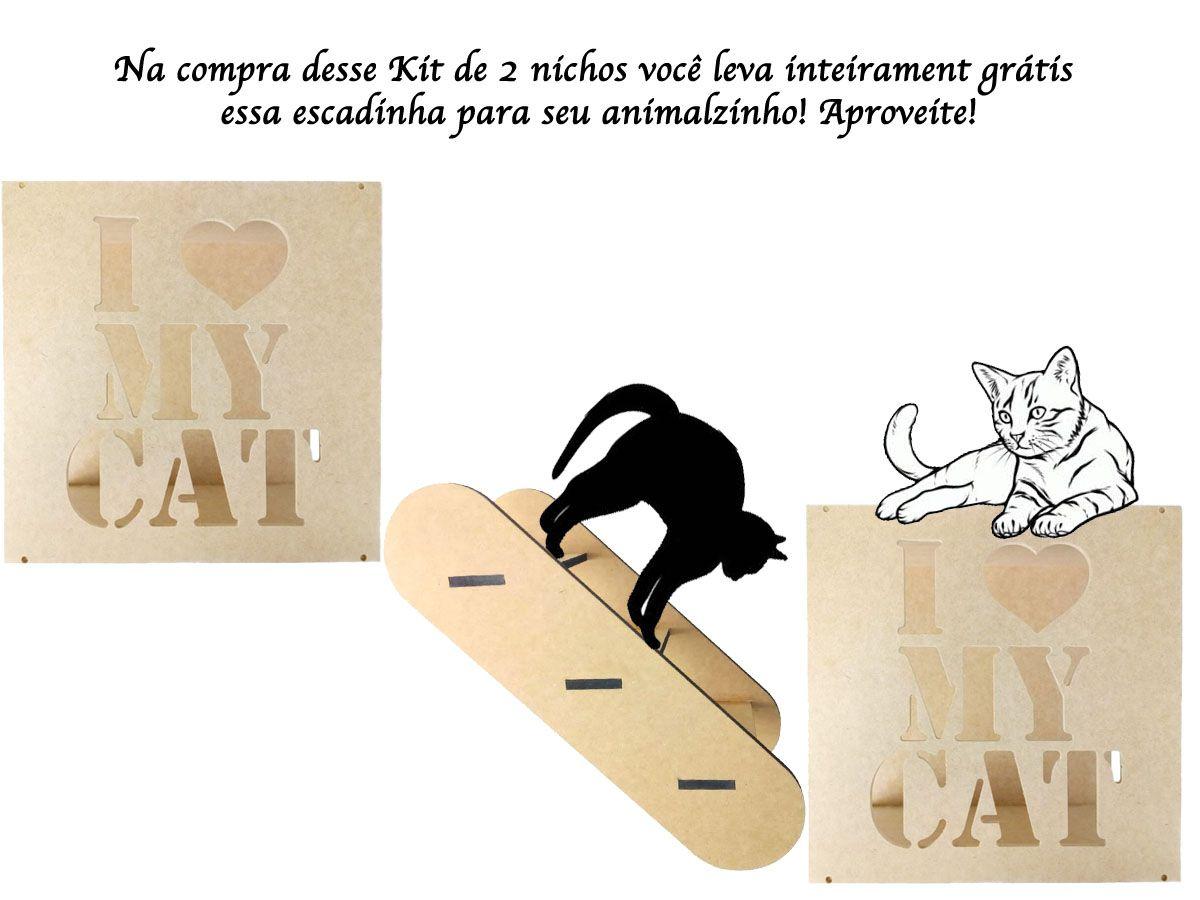 Kit 2 Nichos Mdf Cru I Love Cats + Brinde Para Gatos