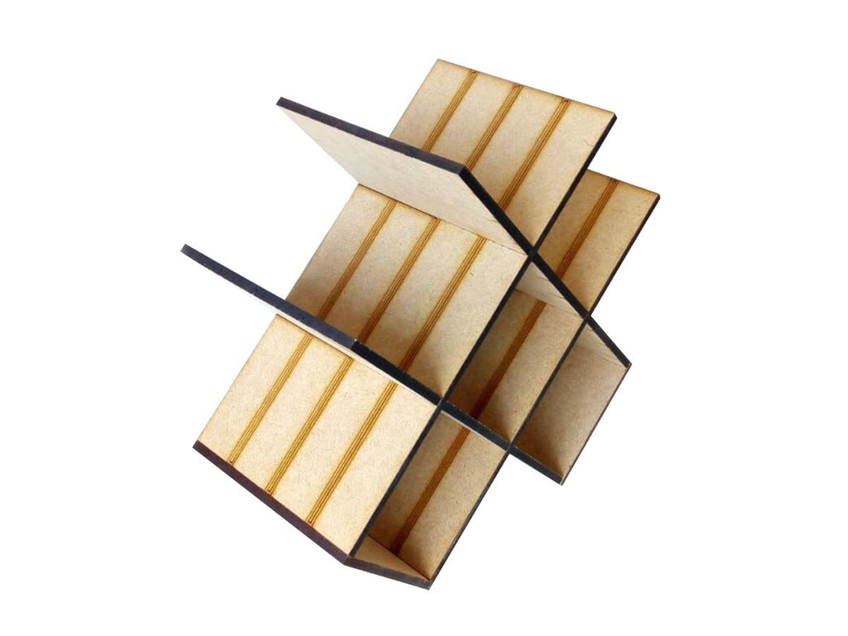 Mini Adega Rack Porta 6 Garrafas Em Mdf Cru