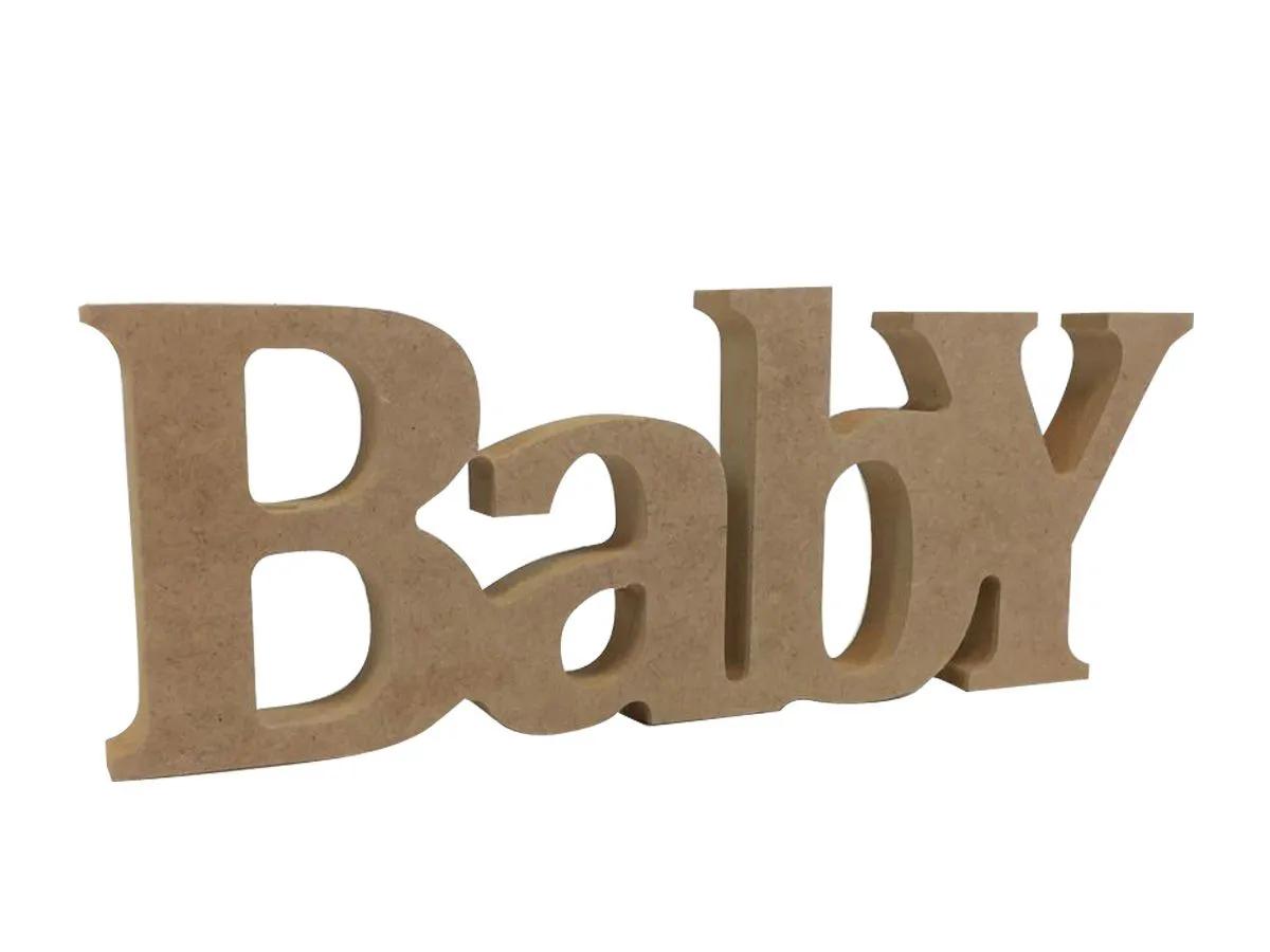 Palavra Mdf Baby Decoração Chá Revelação Menino Menina