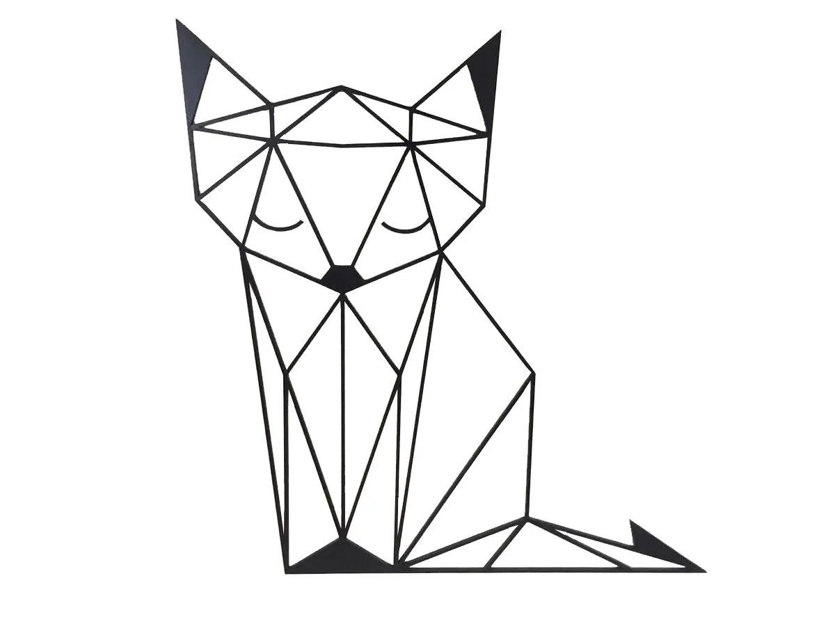 Quadro Aplique Parede Raposa Poligonal Geométrica Mdf