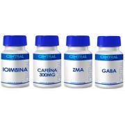 KIT Cafeína 300 mg + Gaba 200mg + ZMA + Ioimbina 5mg