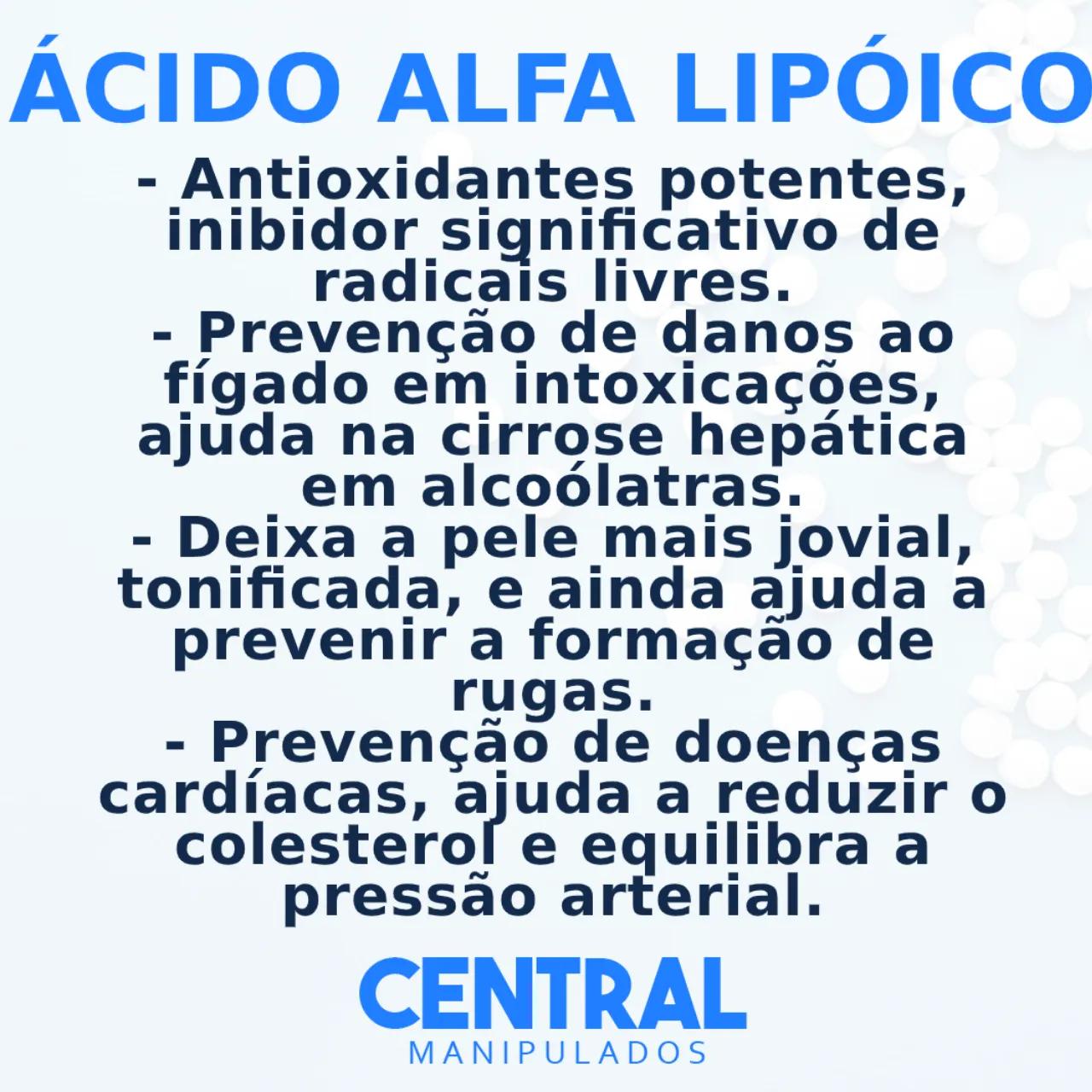 Ácido Alfa Lipóico 500mg - 30 cápsulas - Antioxidante, Auxílio na Proteção Hepática